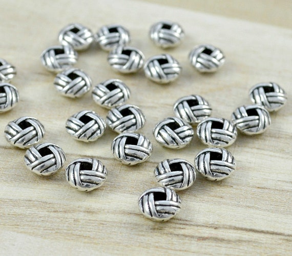 50 stk spacer beads Sadingo metal perlas estrellas - 6x6 mm-Antik plata