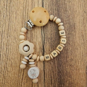 Schoolgirl necklace with name moon with star gift for birth or baptism of wood girl boy baby