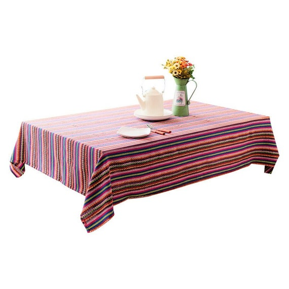 Mexican Blanket Striped Tablecloth Cotton Mexican Serape Blanket Table Cover Dec