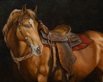 A Cowboy's Best Friend -- Canvas Giclee' Print by Victor Blakey