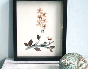 Botanical art, collage with leaf and flowers, pressed flowers, flowers art, Japanese cherry, collage with real flowers