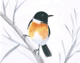 Art print with European stonechat, birds of the UK, bird art, printed art with birds