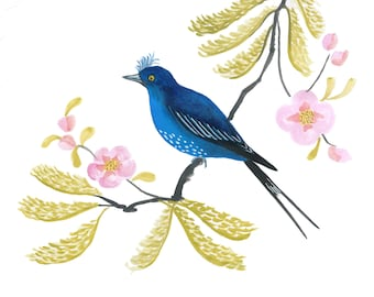 Art Print: Painted fantasy bird on a branch with blossom, art with birds, Japanese style