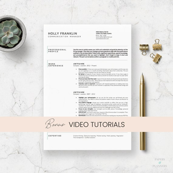Minimalist Resume Templates | Clean CV Design | Minimalist Curriculum Vitae  | One and Two page resume | Creative Resume | Printable Resume
