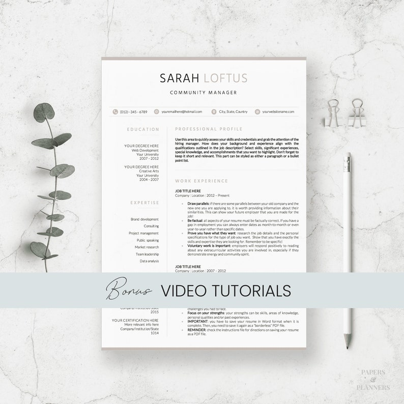 Modern Resume Design | Clean Resume Templates | Curriculum Vitae Template |  Modern Cover Letter | Creative Resume | Instant download