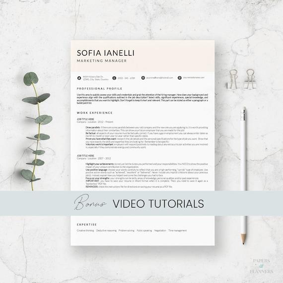 Minimalist Resume Template Curriculum Vitae Professional Etsy