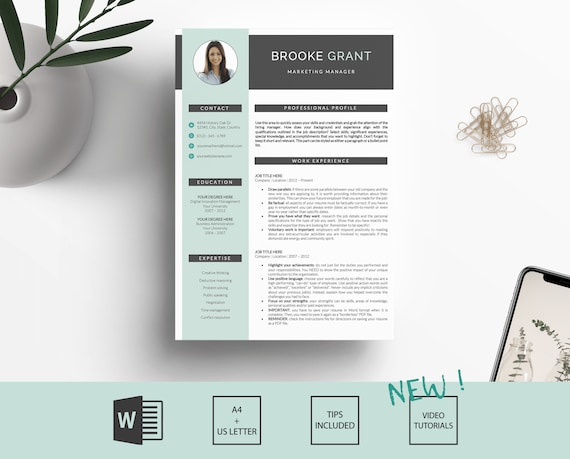 cv template design curriculum vitae with cover letter etsy