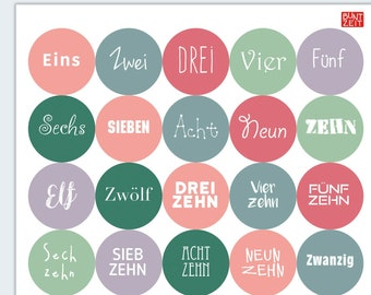 NEW COLOURS: Advent calendar numbers and Christmas motifs in pastel colours rosé, petrol, red and purple