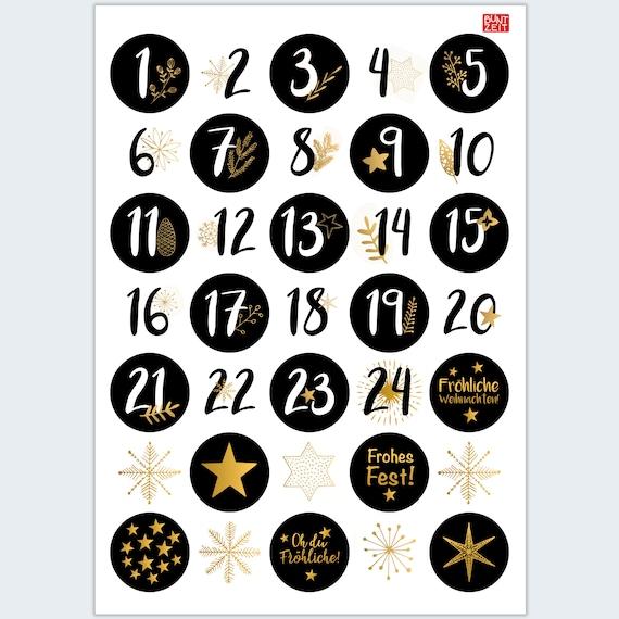 Adventskalender Zahlen Und Weihnachtsmotive In Schwarz Weiss Etsy