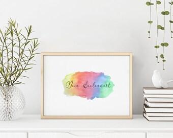 Seelenwort Handlettering | Regenbogenfarben Aquarell | Tarotkartenlegung Inspirationskarten | DIN A4