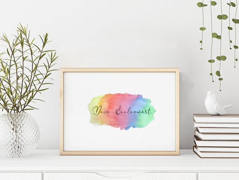 Seelenwort Handlettering  Regenbogenfarben Aquarell  image 0