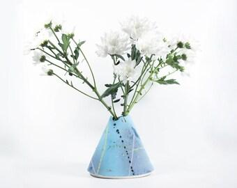 Colorful Ceramic Vase | Handmade | Limoges Porcelain |  Modern Home Decor | Retro | 349