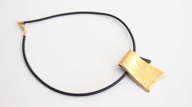 Designer Necklace with Ceramic Pendant gold plated Vintage image 0