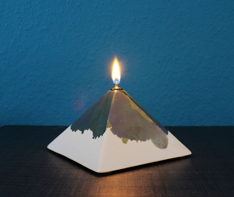 Designer Ceramic Oil Lamp Pyramid Vintage Unique Decorative image 0