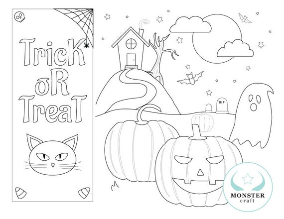 Spooky Halloween Coloring Page Scary Pumpkin Scene Etsy