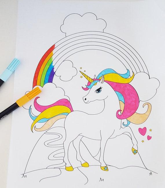 Printable Unicorn and Rainbow Coloring Page | Fantasy | Digital Download