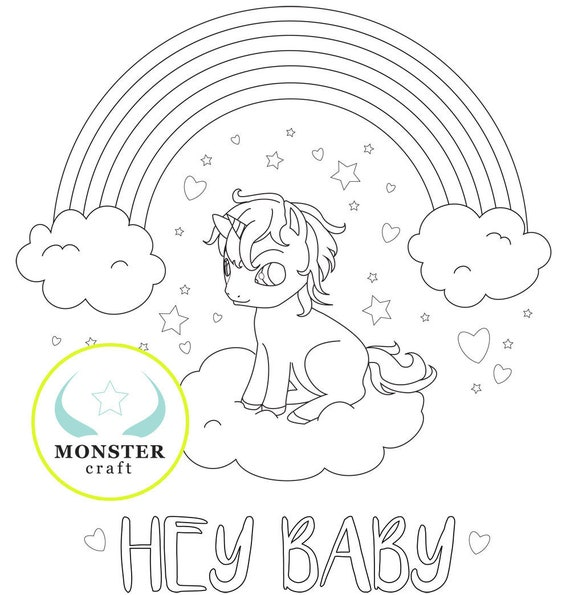 Printable Baby Unicorn Rainbow Coloring Page | Fantasy | Digital Download