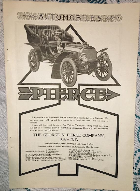 Vintage 1904 Magazine Automobile Ads Pierce Locomobile Northern Automobiles