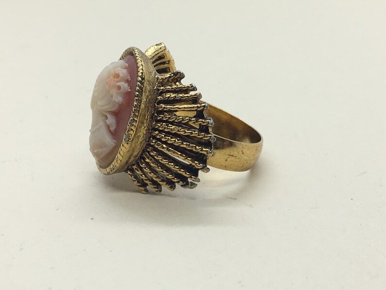 Cameo Edwardian style solitaire adjustable statement ring