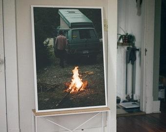 Stayin' Warm - Art Print / Van Fire Campfire Road Trip PNW