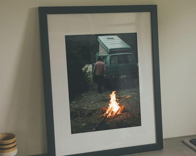 Stayin' Warm - Framed Art  / Van Fire Campfire Road Trip PNW