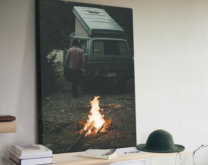 Stayin' Warm - Canvas Print / Van Fire Campfire Road Trip PNW