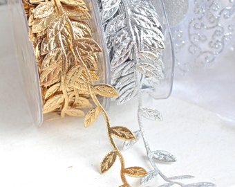 1 m Leaf Ribbon Satin Leaves Garland 3 cm Gold Silver Faux Leather Decorative Cord Gift Ribbon Craft decorate