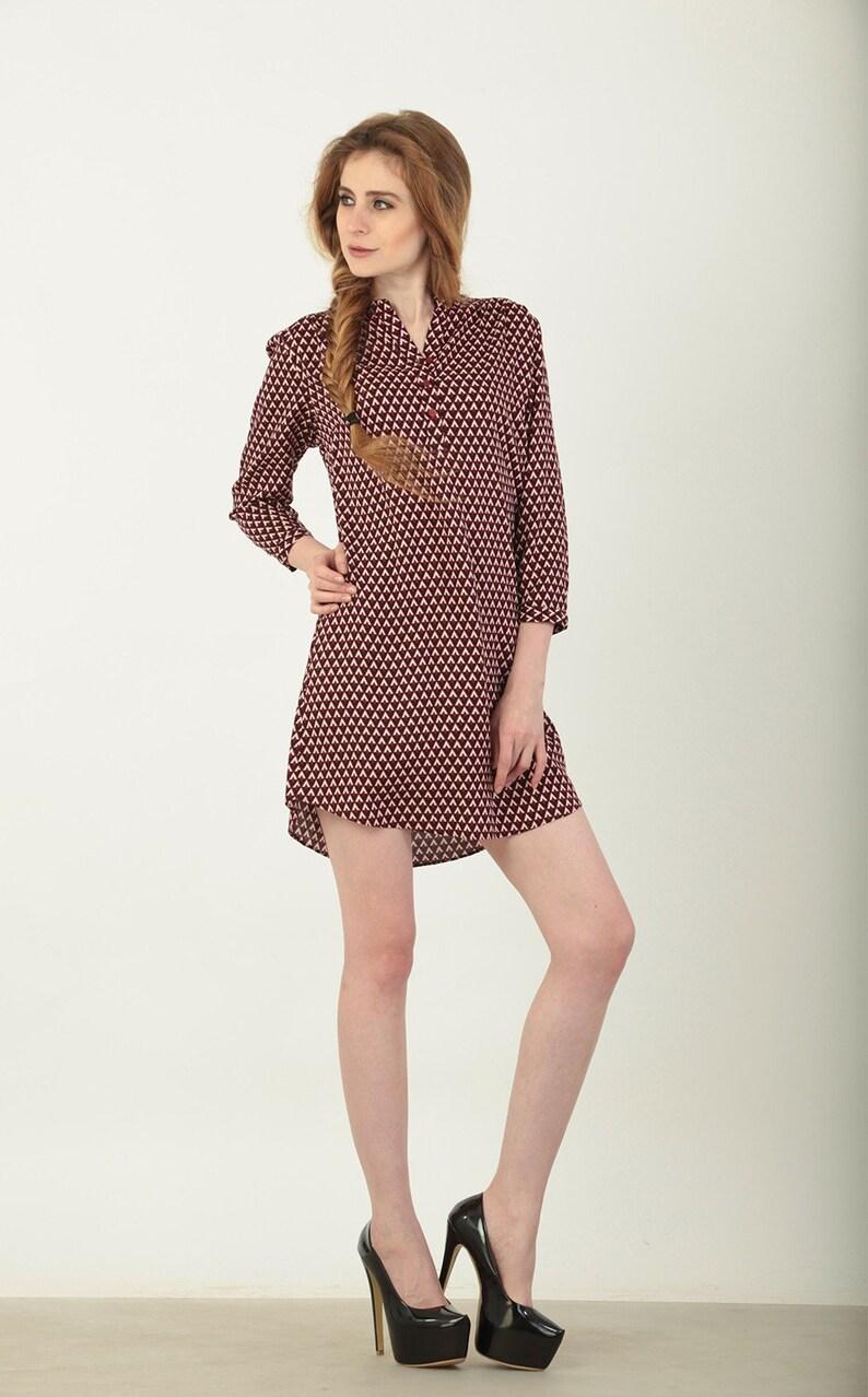 WW16ESSBLZNECKPRINT S6 M3 Moda paradiso geometric print indian kurti french front button tunic dress