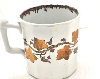 0f63d471e80 Copper Luster Ware Mug Ivy Design English Circa 1800 s