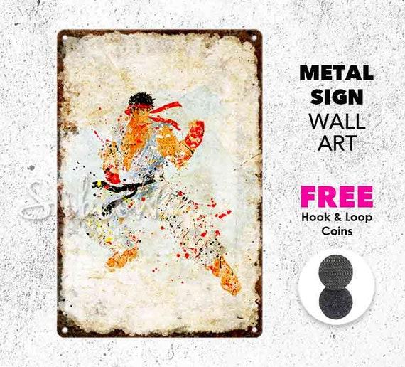 Ryu Metal Aluminum Sign Street Fighter Wall Art Print Home Etsy