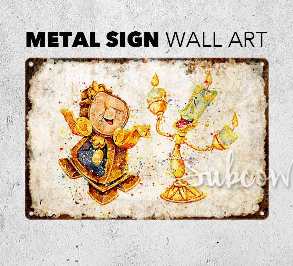 Cogsworth and Lumière Wall Art Print Rustic Metal Sign Home | Etsy