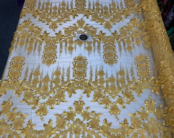 LACITYFABRIC FloralFlower Mesh Lace Fabric Navy Blue Royal Designs By Yard Gorgeous Lace Bridal Wedding Prom Party Decoration Drapes.