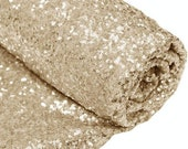 Sold by the Yard Light Gold Sequin Glamorous Tablecloth fabric for Event Table