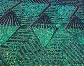 Green Blue Shiny sequins 4 way stretch on A MESH lace Sold By the yard for decorations fashion wedding prom dresses, tablecloths night gowns