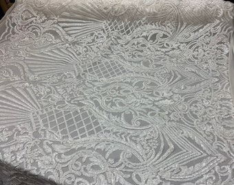 Geometric/_ STRETCH SEQUINS 4 WAY Spandex Mesh embroidered Lace Fabric Sold By The Yard Wedding Dress Prom Dress Skirts Dance Costume.