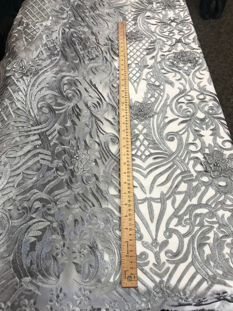 Design Beaded Mesh Lace Fabric Bridal Wedding Sold By Yard clothing jackets applications table covers Silver dresses,skirts runners
