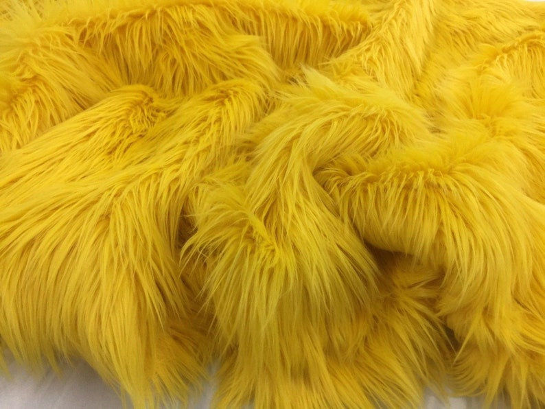 Fur Clothing Bed Spreads Throw Blankets Faux Fur Fabric Mongolian Design Yellow Sold By Yard Fur Coats Blankets