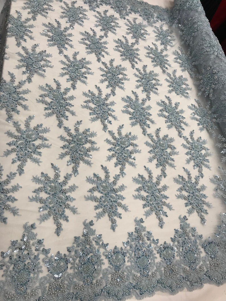 beaded Mesh lace for Customs,decorations,gowns,tablecloths Light Blue Top  Embroidered women fashion prom wedding dress fabric by the yard