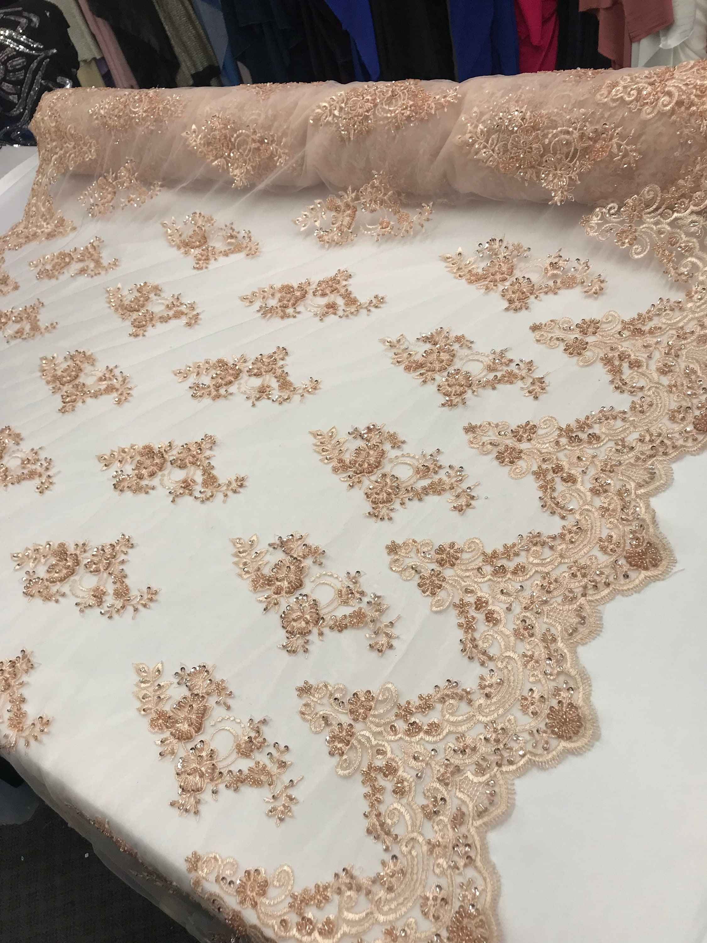 BLUSH  Mesh Lace Bridal Beaded With Sequins Women Fashion Decoration Prom  Wedding Dresses By Yard Tablecloths, Runners, Skirts,night Dress
