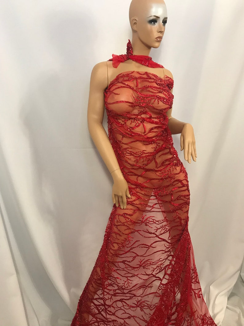 dresses,skirts jackets applications Design Beaded Mesh Lace Fabric Bridal Wedding Red runners table covers Sold By Yard clothing