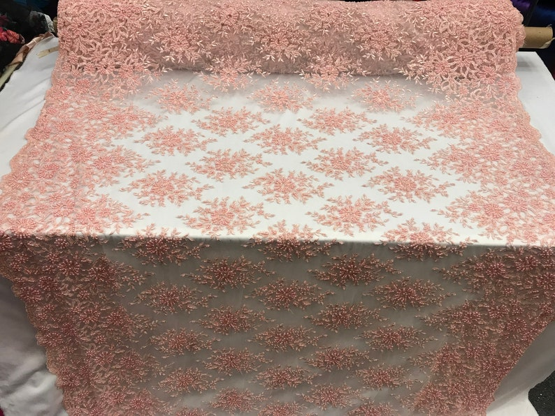 tablecloths,Wedding prom Dress Embroidered Mesh Floral Beaded Lace Fabric Skirts,gowns,Decor Fashion Apparel Pink Runners By the yard