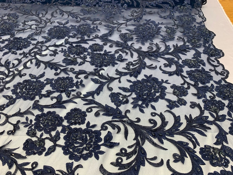 Hand Beaded Lace Fabric Embroidery Mesh Floral Lace With Sequins AND Flowers Wedding Prom Dress Night GownsVeil Navy Blue ONE Yard