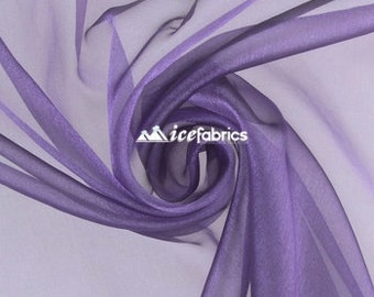 Jewel Purple_ Crystal Sheer Organza Fabric By The Yard and By The Roll- for Decorations, Fashion Dress