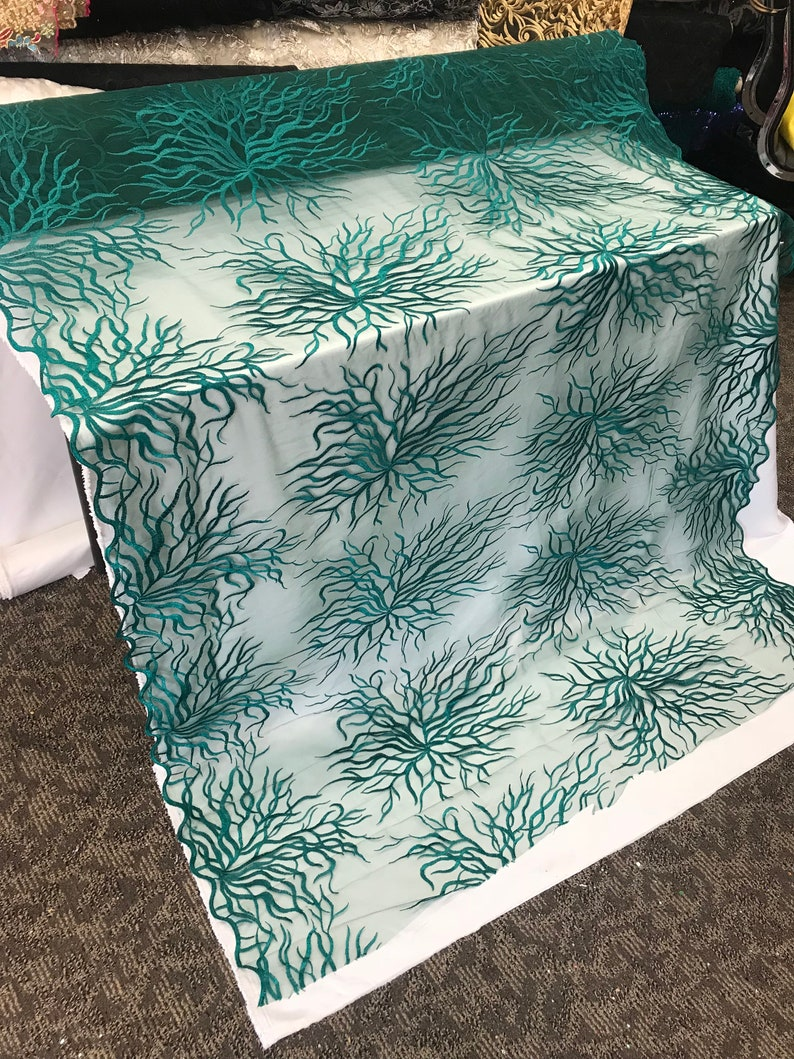 Bridal Wedding Mesh Lace Fabric teal Metallic floral Yard dresses tablecloths night gowns Skirts prom dresses wedding dresses decoration