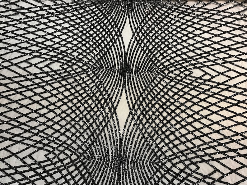 Black Sequins 4 Way Stretch On A Mesh Lace Embroidery Fabric Geometric Design For TableclothsDressesNight gowns Runners
