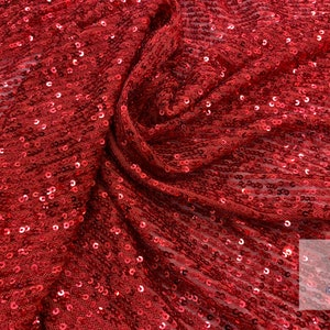SM07 Red /& Red; By the YARD Sequins on Stretch Mesh Fabric