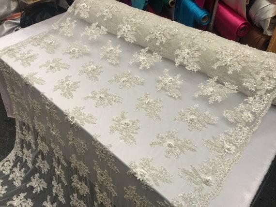 Tissu Design satin Ivoire Design Tissu perles maille dentelle tissu mariée mariage vendu par Yard vêtements, vestes jupes, des applications, nappes, chemins de 49d979