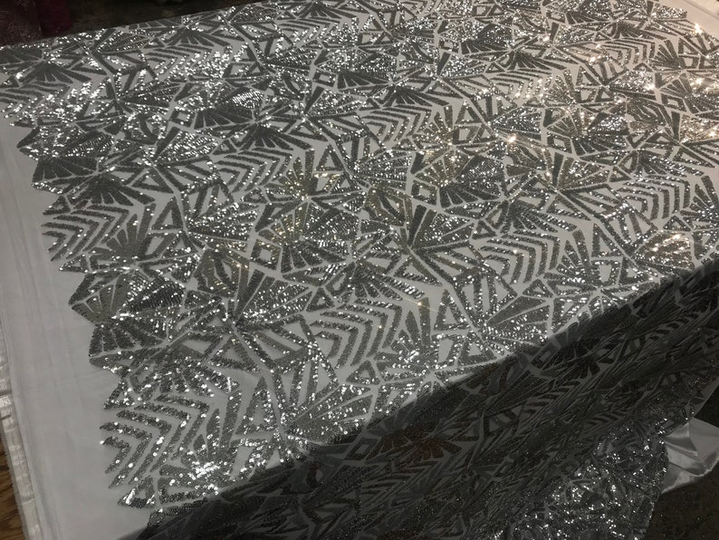 Silver CITYFABRIC Iridescent 4 Way Shiny Stretch Sequins Geometric Design For Wedding,Tablecloth,Embroidered Mesh Lace Fabric By The Yard