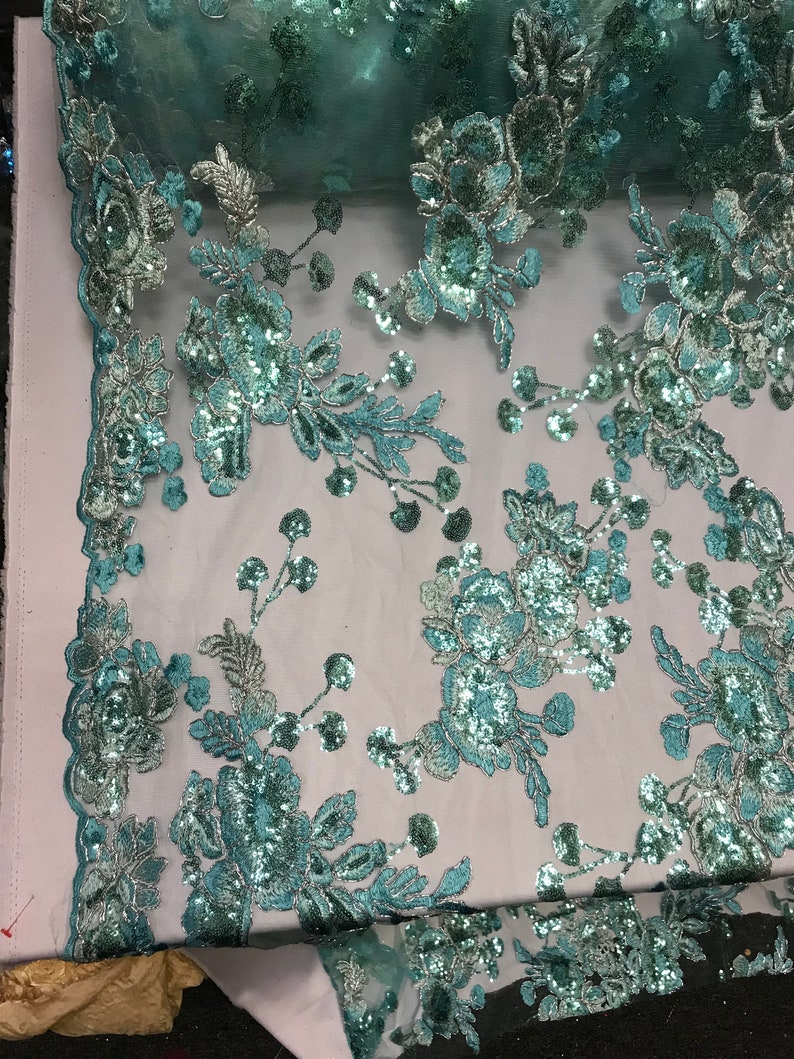 Runners Tablecloths Skirts Costumes Night Gowns Mint Mesh Lace Floral Fabric By The Yard/_ Embroidery Handmade Floral Lace/_ Decor