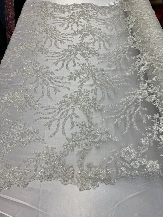 """IVORY GOLD METALLIC EMBROIDERY MULTI SEQUINS BEIDAL LACE FABRIC 48/"""" WiIDE 1 YARD"""